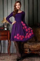 Free Shipping 2013 Autumn And Winter Wool One-Piece Dress Three-Dimensional Embroidery Elegant Slim Sweater Dress