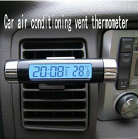 Car air conditioning vent thermometer blue LCD Car Thermometer Time Clock Car vehicle electronic clock electronic watch