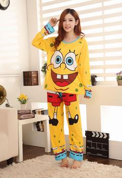 Модный autumn winter Женщины's pajamas set, spongebob Женщины Хлопок cloТонкийg ...