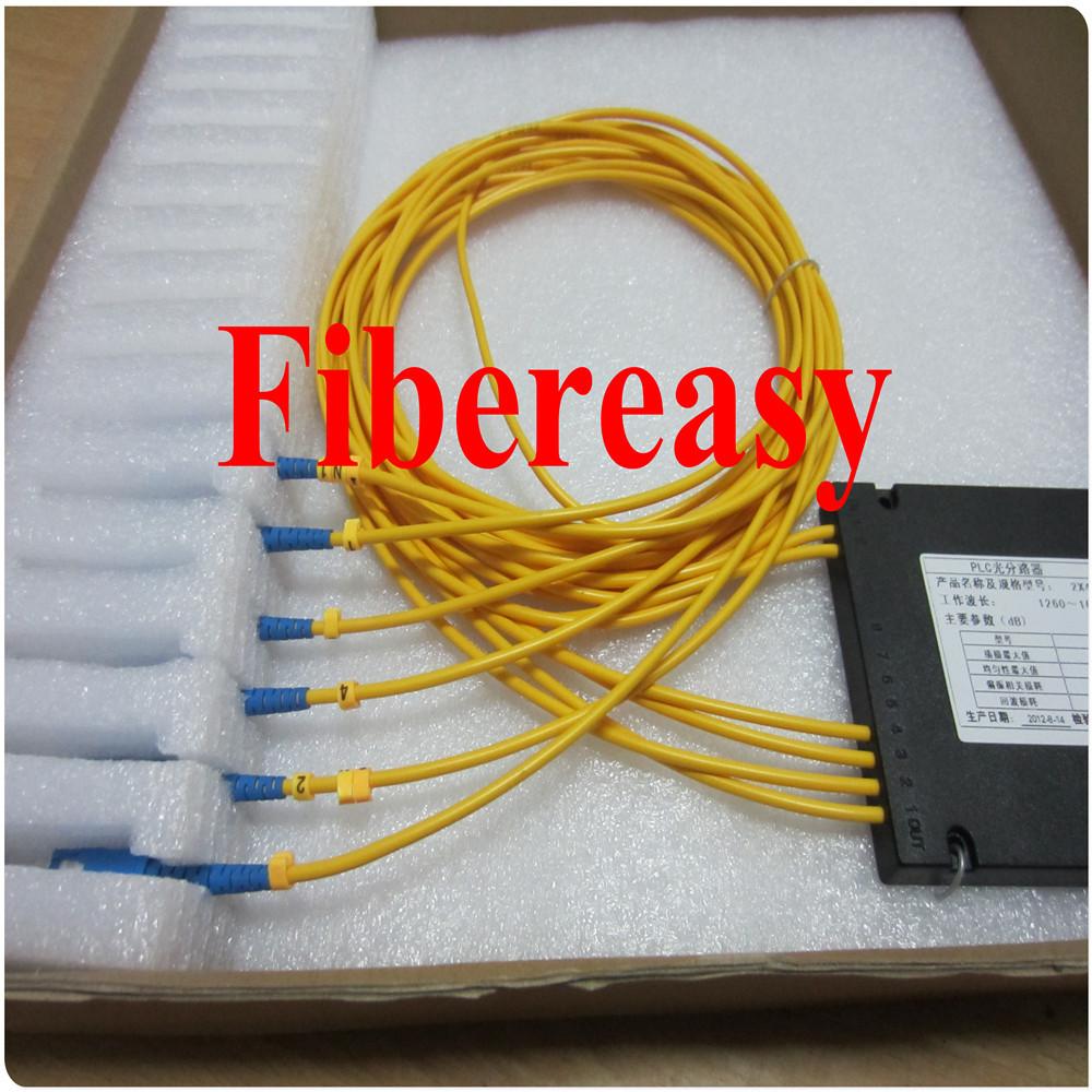 Free Shipping 5pcs/lot FTTH PLC Splitter 2x4 Optic Fiber Coupler ABS Box Module SC/UPC Connector 1.5meters(China (Mainland))