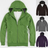2013 men's spring winter  casual sweatshirt cardigan with a hood 100% cotton wool thickening men's outerwear