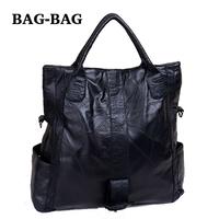 Special Offer Large Capacity Sheepskin Genuine Leather Patchwork Women Black Shoulder bag Fashion girls B281