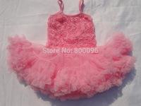 2013 newest design dresses rosette dress pink Ball Gown girl dress rose  KP-RDS008