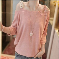 Hot Sale Loose Solid Color Strapless Sweater Women Embroidery Pullover Wool sweaters 4Colors For Spring Autumn WS011