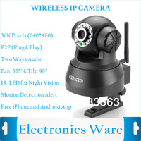 Wifi P2P Plug&Play Wireless Pan&Tilt IP Camera with Dual Audio IR Night Vision Monitor Baby Free Iphone Android App Software
