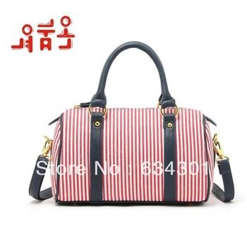 Free shipping Classic navy style cotton canvas stripe women's handbag messenger bag cartera bolso