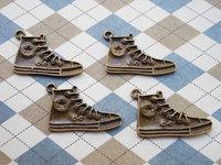 40 pcs of Antique Bronze Sneaker Shoes Charms 18x29mm