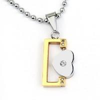 Titanium lovers gold square pendant of love paragraph necklace
