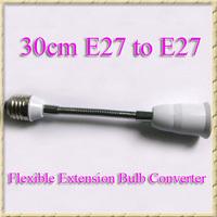 DHL Free Shipping 100pcs/lot 30cm E27 to E27 Flexible Extension Lamp Holder Converter For LED Halogen CFL Lamp Base