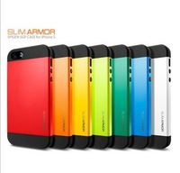 2013 Newest Free Shipping 200pcs/lot Hybrid PC+Silicone SGP Slim Armor Armour Colorful Case Cover for Iphone 5 10 Colors