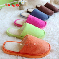 Autumn and winter candy color brief coral fleece cotton-padded slippers at home floor yarn lovers