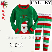 Free shipping 6sets/lot Children's Autumn Clothing Baby Cotton Long Sleeve Sleepwear Toddlers Santa Pajama Sets