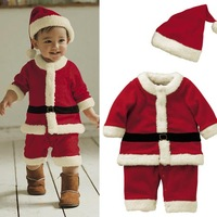 Retail 300 boys girls child christmas romper classic style christmas one piece romper hat set