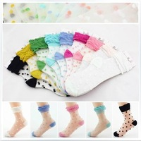 Women's fresh crystal  transparent glass dot laciness piles of  stockings dot sandals