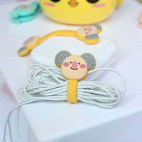 Cute Cartoon Earphone rubber Winder headphone cord cable holder
