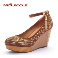 Hot-selling fashion sweet fashion rhinestone round toe high heels shallow mouth wedges platform shoes