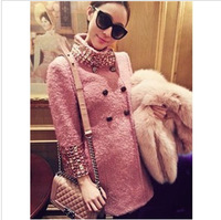 2013 Heavy Jingjing show aristocratic circle of velvet beaded sleeve collar wool coat jacket