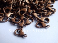 Free ship!!!Hot fashion 1000pcs 14mm Antique copper findings jewelry bead making Metal Claw Lobster clasp hooks connector