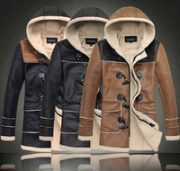 WCL outdoor mens genuine pu long leather fur lining Horn button Jacket long coat trench hood top quality