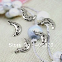 Min. order is $8(mix order) 50pcs/lot  Vintage Antique Silver Moon Pendant Charm 19*10mm Free Shipping 2013SC13