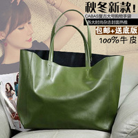 2014 Year Hot Sale Fashion brief cowhide genuine leather cabas women's handbag tote shopping bag handbag one shoulder big bag
