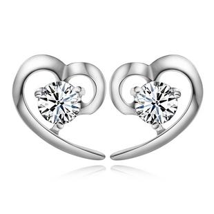 Gde 925 чистого серебро серьгу в форме сердца циркон серьги серебро милый серьгу аксессуары