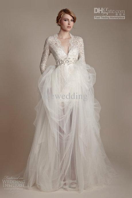 Wholesale Elegant Vintage V Neck Long Sleeve Wedding Dresses Beads Tulle Lace