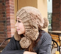 Free shipping new 2013 The new lady winter tide super rabbit hair ball ball hat children hair bulb cap in the winter