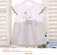 Free Shipping Summer Casual Short Sleeves A Line 100% Cotton Baby Girl Dresses, Casual Children Girl Dresses, Kid Girl Dresses