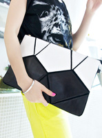 2013 New Womens Envelope black and white cowhide clutch bag shoulder bags women's handbag