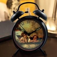 Big Double Bell Alarm Clock Vintage ANGELS Clock Best Silent Night Clock Roman Numeral Black Alarm