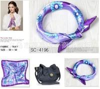 Wholesale  silk women's scarf printed purple  50x50 cm  square scarvesairline hostess business lady's  kerchief  free shipping