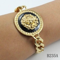 Min Order $10(Can Mix Item) 2013 popular gold plated chain lion head bangle bracelet for women free shipping