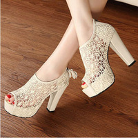 Free Shipping A1 2013 Sexy Women Fish Mouth High Heels Shoes Lace Cut Outs Net Surface Increased Female Pump Sandal Woman 630338