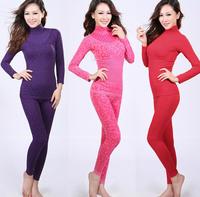 Set leopard print thermal body shaping seamless beauty care underwear turtleneck thin women's long johns long johns set