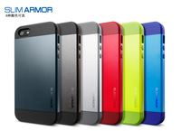 50Pcs/Lot On Sale SLIM ARMOR SPIGEN SGP Hard case for iPhone 5/5G Back Cover New Arrival TPU+Plastic, 10 Colors with Retail Box