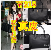 Handbag Genuine leather one shoulder women's handbag cerf women's black tote handbag briefcase litchi suede women's handbag