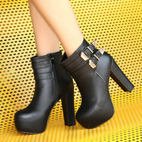 2013 thick heel boots ultra high heels platform buckle boots martin boots fashion round toe