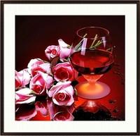 Free shipping, 5d diamond painting diy cross stitch diamond red wine rose sticker rhinestone round diamond