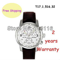 New T17.1.516.32 Sapphire Glass Brown Leather Swiss.Quartz Movement Men Chronograph Watch T17151632 T17 + Original Box