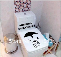 Cute Black Toilet sticker bathroom Decal art decoration on the closestool  funny cartoon home decal TL002