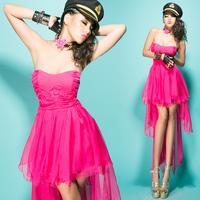 Bossy lady2013 fashion sexy high waist 's charming irregular chiffon tube top dovetail one-piece dress