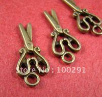 DE-Free ship!!Hot fashion 300pcs 24x12mm Scissors antique bronze pendant charms