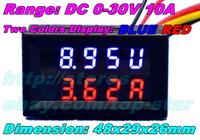 Dual display Meter LED DC 0-30V DC10A E-Bikes Motorcycle DC Amp Meter Volt Gauge Voltmeter Ampere 2 in 1 Panel Meter
