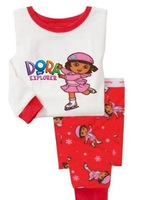 New  Baby Girls 2pcs Children Clothing Set Children Pajama For Child Clothes  DORA design Kids t-shirts+Pants For Girls Pyjamas
