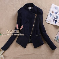 winter women's british style handsome oblique zipper fashion vintage slim woolen outerwear female blazer