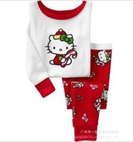 baby girl's pajamas 2013 new children's pj long sleeve kids sleepwear  hello kitty Christmas  cat T shirt+pant Retail 1set 2pcs