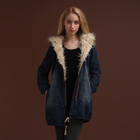 2013 winter plus velvet thickening wadded jacket slim female vintage medium-long with a hood denim outerwear female
