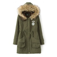 Winter fur collar cotton-padded jacket long-sleeve plus velvet cotton-padded jacket medium-long slim drawstring waist with a
