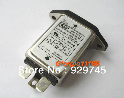 1pc General Purpose AC Power EMI Noise Filter 10 Amp 110V 115V 220V 240V 250V(China (Mainland))